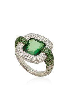Cushion Shape Natural Vivid Green Tsavorite Garnet Ring by Martin Katz Raw Stone Jewelry, Fine Jewelry, Jewellery, Vintage Diamond Rings, Tourmaline Jewelry, Big Rings, Garnet Rings, Wow Products, Gemstone Rings