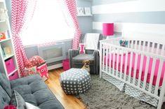 habitación para la niña con parede grises a rayas blancas