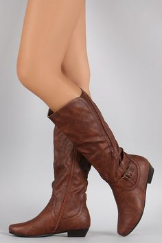 Elastic Gore Round Toe Riding Knee High Boots