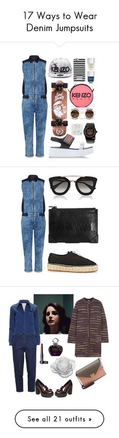"""""""17 Ways to Wear Denim Jumpsuits"""" by polyvore-editorial ❤ liked on Polyvore featuring waystowear, denimjumpsuit, Karen Millen, Kenzo, Wildfox, Happy Plugs, MICHAEL Michael Kors, Nails Inc., Alexander Wang and Prada"""