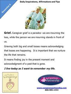 November 6 Daily CareGiver Affirmation: Grief #caregiver #caregiving