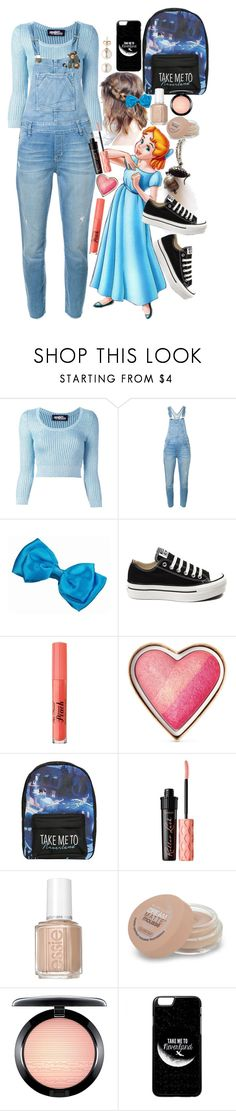 """""""Wendy Darling Disneybound """" by axelyamary ❤ liked on Polyvore featuring Jeremy Scott, Current/Elliott, Converse, Too Faced Cosmetics, Disney, Benefit, Essie, Maybelline and MAC Cosmetics"""