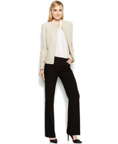 Calvin Klein Zip-Front Tweed Jacket, Sleeveless Blouse & Classic-Fit Trousers - Calvin Klein Outfits - Women - Macy's