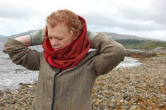 Women's tweed and velvet snood loop scarf. Designed and handmade in Scottish Highlands.  Inspired by times past by Lorna Gillies