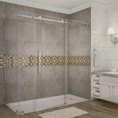 Aston Moselle 72 in. x 35 in. x 75 in. Completely Frameless Sliding Shower Enclosure in Chrome Frameless Sliding Shower Doors, Frameless Shower Enclosures, Sliding Door, Walk In Shower Designs, Large Baths, Shower Remodel, Look Fashion, Shower Ideas, Bathroom Ideas