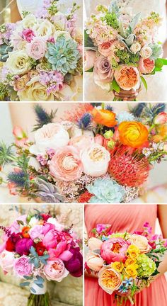 Wedding Bouquets ❤ Summer brides are lucky to have the most beautiful flowers in season for their wedding bouquets. See more: http://www.weddingforward.com/gorgeous-summer-wedding-bouquets/ #weddings #bouquets #seeglasswedding