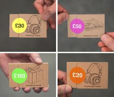 Boomkat gift certificates –cardboad folders, illustrations and denomination neon stickers.