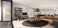 The Dylan Apartments - 3d CGI image of living room by Buildmedia