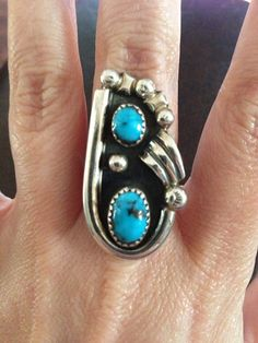 Amazing Navajo Sterling Silver Turquoise Ring Size by DorianGreys, $60.00