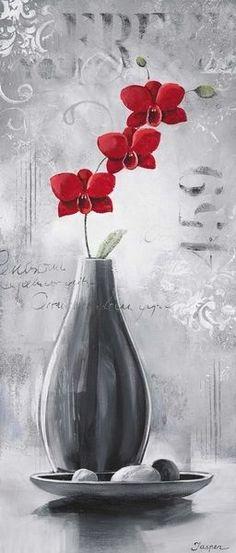 Jasper: Orchids in Bloom I Fertig-Bild 30x70 Wandbild Blumen Orchidee in Möbel & Wohnen, Dekoration, Bilder & Drucke | eBay