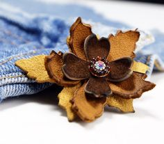 Your place to buy and sell all things handmade Leather Fabric, Soft Leather, Brown Leather, Leather Necklace, Leather Jewelry, Shibori, Lapel Flower, Amber Beads, Leather Flowers