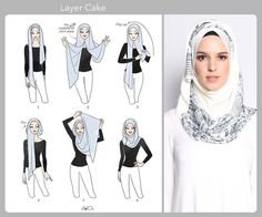 Layer Cake hijab tutorial by duckscarves. ♥ Muslimah fashion & hijab style Layer Cake hijab tutorial by duckscarves. Simple Hijab Tutorial, Hijab Simple, Hijab Style Tutorial, Scarf Tutorial, Tutorial Hijab Wisuda, Stylish Hijab, Modern Hijab, Hijab Chic, Islamic Fashion