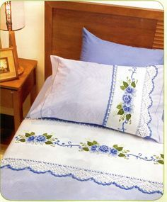 Designer Bed Sheets, Crochet Bedspread Pattern, Personalized Pillow Cases, Embroidered Pillowcases, Doll Beds, Linens And Lace, Bed Styling, Bed Sheet Sets, Cross Stitch Flowers