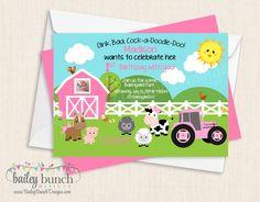 Farm, Barnyard, Tractor, Cowboy, Cowgirl Birthday Invitations FARMINVITE0520