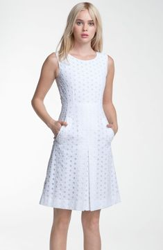 Diane von Furstenberg 'Capreena' Eyelet Dress available at Nordstrom Dress Outfits, Casual Dresses, Short Dresses, Fashion Dresses, Fashion Shoes, Girl Fashion, Eyelet Dress, Lace Dress, White Dress