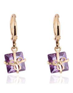 #AdoreWe #VIPme Earrings - KUNIU Golden Gold Plated Purple Zircon Bowknot Pendant Earring - AdoreWe.com