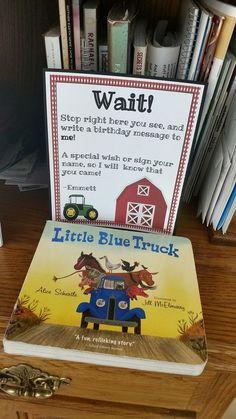 1st Birthday Party Guestbook- Farm Barnyard Birthday- Little Blue Truck