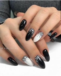 100 Pretty Winter Nail Design Ideas 2019 - Page 100 of 100 - Soflyme - Winter Nails Acrylic - Almond Nails Designs, Black Nail Designs, Winter Nail Designs, Nail Art Designs, Nail Ideas For Winter, Short Almond Nails, Almond Shape Nails, Black Almond Nails, Short Nails