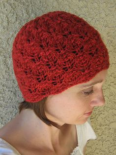 Flower Bud Beanie by Wendy Neal. malabrigo Worsted in Sealing Wax colorway.