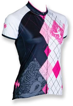 At REI Outlet: Canari Courage Bike Jersey. Pink argyle accents.