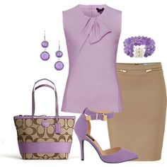 I look awful in purple but I do think this outfit is so pretty! Lila Outfits, Classy Outfits, Chic Outfits, Work Outfits, Estilo Fashion, Ideias Fashion, Color Type, Fashion Looks, Fashion Tips