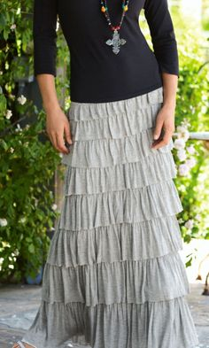 Cute, but without the necklace. Tiered Knit Skirt - Ruffle Skirt, Broomstick Skirt, Slimming Maxi Skirt | Soft Surroundings