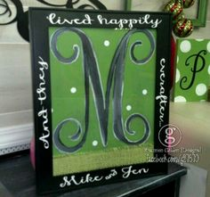Happily Everafter framed letter with names