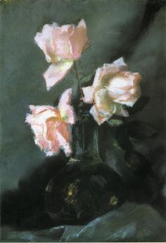 """Roses in a Vase,"" John La Farge, ca. 1884, pastel on linen"", 13 x 9"", private collection."