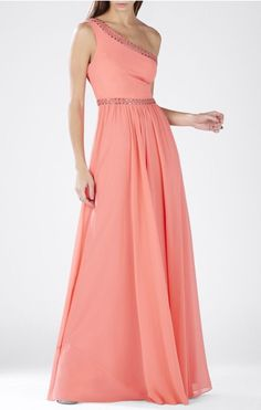 BCBGMAXAZRIA Pink Coral Daniele Gown Dress. Free shipping and guaranteed authenticity on BCBGMAXAZRIA Pink Coral Daniele Gown Dress at Tradesy. Construct a radiant look in this elegant one-shoul...