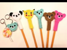 Accesorios a crochet para lapices/ crochet pencil topper. - YouTube