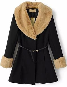 To find out about the Black Rabbit Fur Long Sleeve Slim Belt Coat at SHEIN, part of our latest Outerwear ready to shop online today! Parka, Rabbit Fur Coat, Belted Coat, Latest Street Fashion, Fur Collars, Wool Coat, Autumn Winter Fashion, Winter Style, Winter Coat