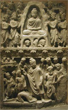 Relief with Buddha Shakyamuni meditating in the Indrashala Cave and Buddha Dipankara, Gandhara (2nd/3rd C.)