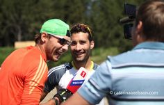 Martin Fourcade having fun with Anton Shipulin during interview for russian tv in Font-Romeu France.