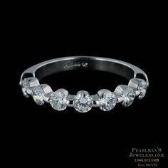 Memoire platinum single shared prong 7 stone wedding ring from Pearlman's Jewelers