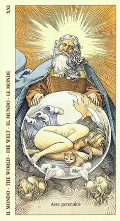 The World - an unusual representation. This card means rebirth, celebration of an accomplishment that has helped us grow. Giving birth to the true self.