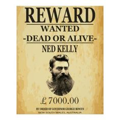 Shop Ned Kelly Bushranger Australia Poster created by Anarchasm. Personalize it with photos & text or purchase as is! Custom Posters, Vintage Posters, Van Diemen's Land, Famous Outlaws, Ned Kelly, Byron Bay, Australia Travel, Custom Framing, Australia