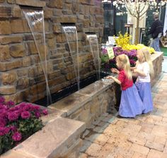 A beautiful water wall at Rocky Mountain WaterScape's Garden at the Colorado Garden and Home Show