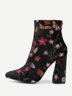 Ankle Decorated with Embroidery. High Heel Boots with Almond Toe. Boots have Back zipper. Perfect choice for Elegant wear. Trend of Spring/Autumm-2018. Designed in Multicolor.