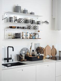 Use of black😍 Ikea White Shelves, Loft Design, House Design, One Room Flat, Kitchen Design, Kitchen Decor, Coffee Bar Home, Home Organisation, Home Living