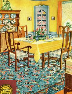 Congoleum, Vintage Ad or how to make my current dining room set work in my future MCM house