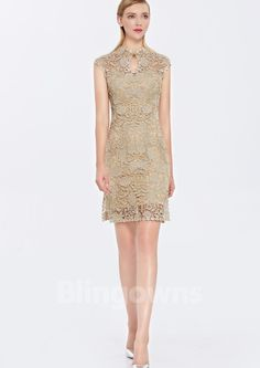 Embroidery Lace Full Back Sheath Short Length Sleeveless High-neck Homecoming / Prom Dresses Cheap Cocktails, Cheap Cocktail Dresses, Prom Dresses, Formal Dresses, Homecoming, Embroidery, Lace, Fashion, Dresses For Formal