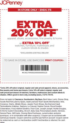 Pinned June 30th: Extra 20% off at #JCPenney #coupon via The #Coupons App