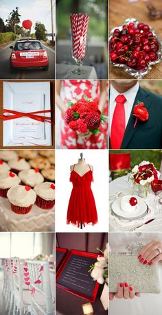 Red wedding inspiration board, love the flowers, straws, nails!All RED. Irish Wedding, Wedding Bride, Our Wedding, Dream Wedding, Wedding Dresses, Garden Wedding, Wedding Color Schemes, Wedding Colors, Wedding Styles