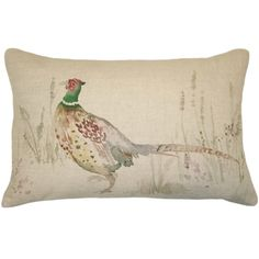 Mr Pheasant Linen & Velvet Cushion | Cushions | Accessories
