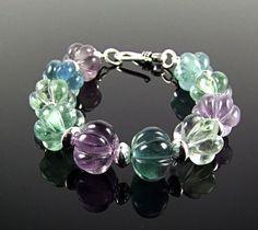 Multicolor Fluorite Sterling Silver Bracelet  by TheSilverBear, $60.00
