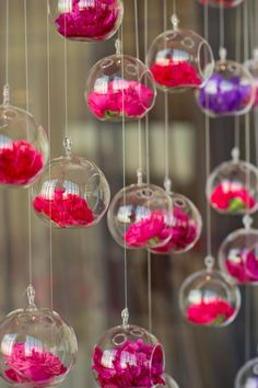 hanging glass globes wedding decor
