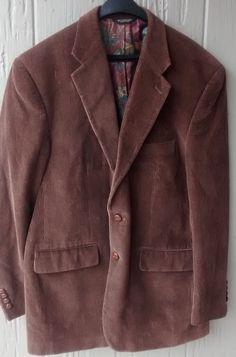MENS Lauren Ralph Lauren Polo BROWN Corduroy Sports Coat Blazer Size 42R XL #PoloRalphLauren #TwoButton