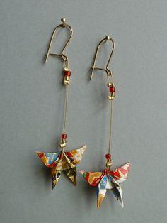 Boucles d'oreilles en Origami papillon rouge, doré, blanc...