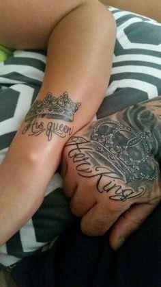 King Queen Tattoo, King Tattoos, Couple Tattoos, Wedding Tattoos, Girly Tattoos, Tattoo Designs, Tattoo Ideas, Ink, Piercings