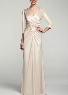 Elegant, timeless, and truly breathtaking! You will look absolutely stunning in this sleeve ensemble! sleeve dress features eye-catching cross over bodice. Knot waist detail creates an ultra-flattering and chic look. Modest Wedding Dresses With Sleeves, Gowns With Sleeves, Dream Wedding Dresses, Bride Dresses, Reception Dresses, Mom Dress, Dress Up, Old Hollywood Glam, Wedding Attire